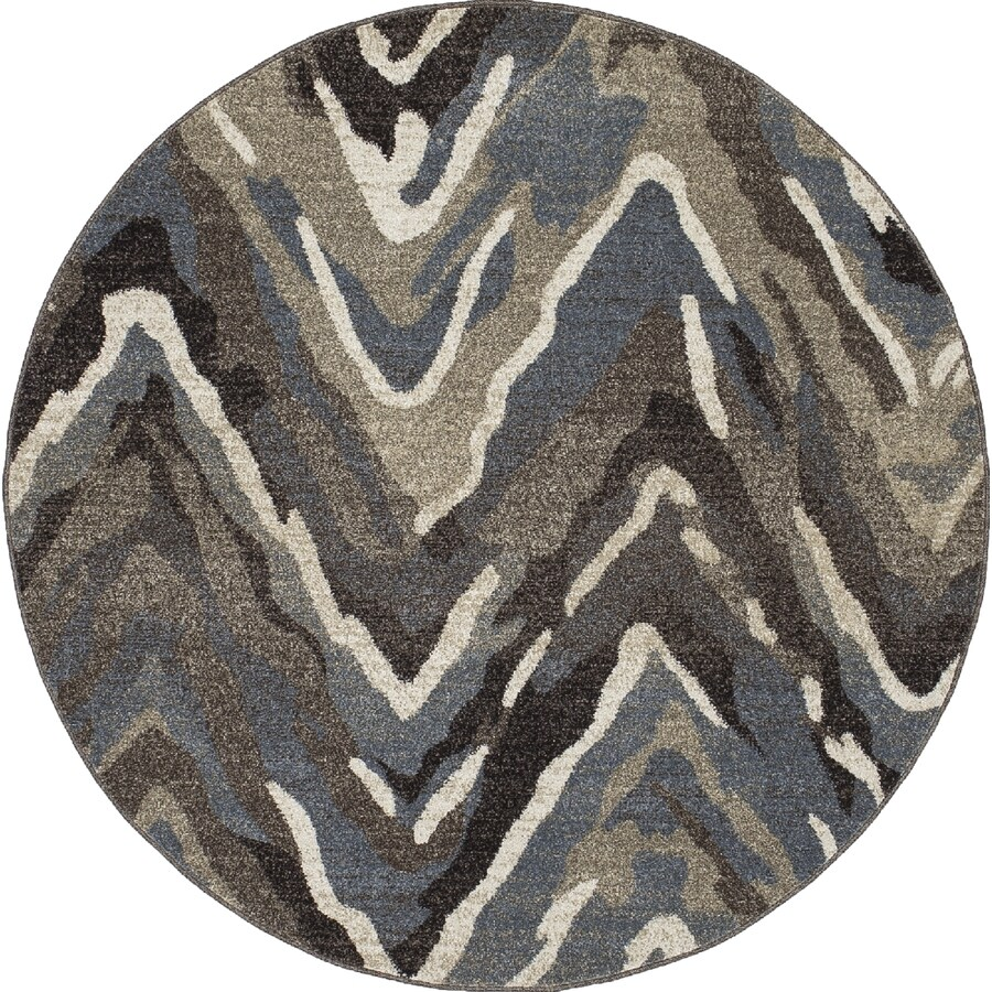 Concord Global Manhattan Blue Round Indoor Woven Area Rug (Common: 8 x 8; Actual: 94-in W x 94-in L x 7.83-ft Dia)