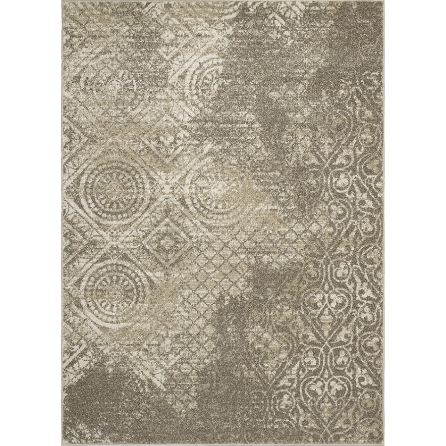 Concord Global Manhattan Ivory Rectangular Indoor Woven Distressed Area Rug (Common: 7 x 10; Actual: 6.58-ft W x 9.5-ft L x 6.58-ft Dia)
