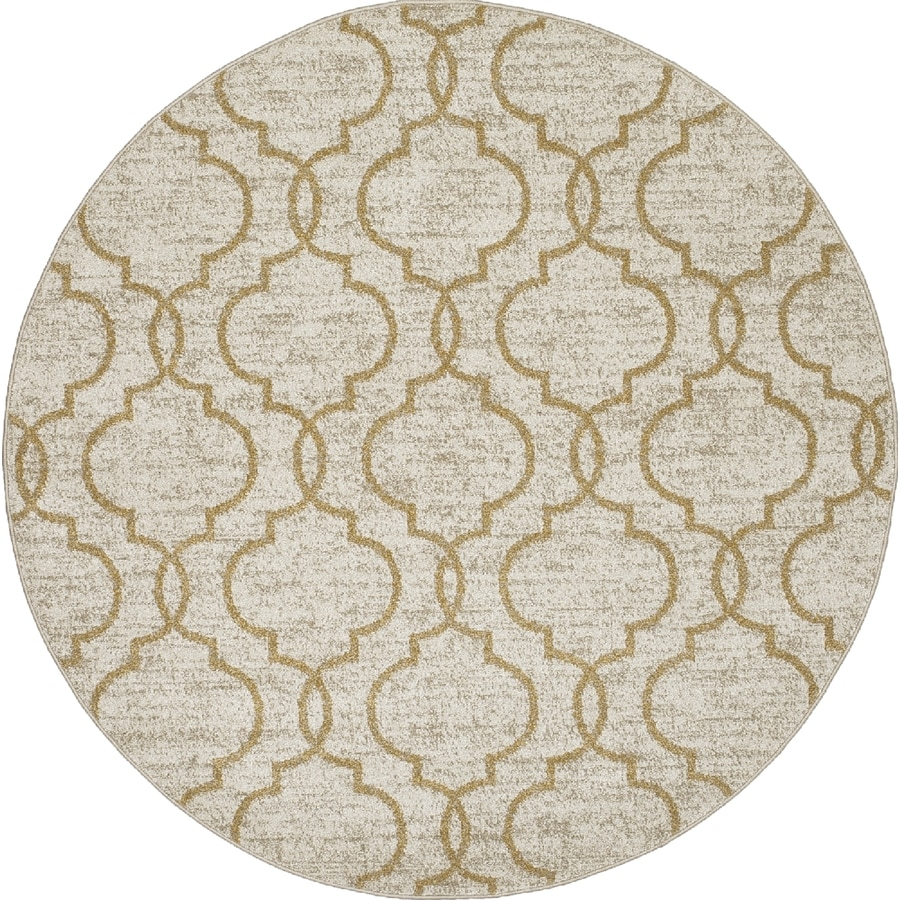 Concord Global Manhattan Yellow Round Indoor Woven Area Rug (Common: 8 x 8; Actual: 7.83-ft W x 7.83-ft L x 7.83-ft Dia)