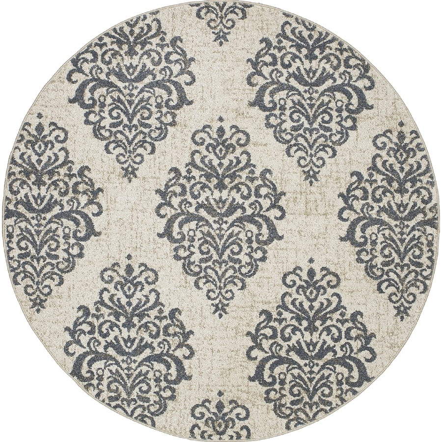 Concord Global Manhattan Blue Round Indoor Machine-made Area Rug (Common: 8 x 8; Actual: 7.83-ft W x 7.83-ft L x 7.83-ft Dia)