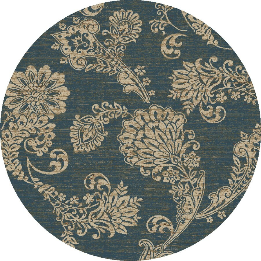 Concord Global Kensington Blue Round Indoor Woven Nature Area Rug (Common: 5 x 5; Actual: 63-in W x 63-in L x 5.25-ft Dia)