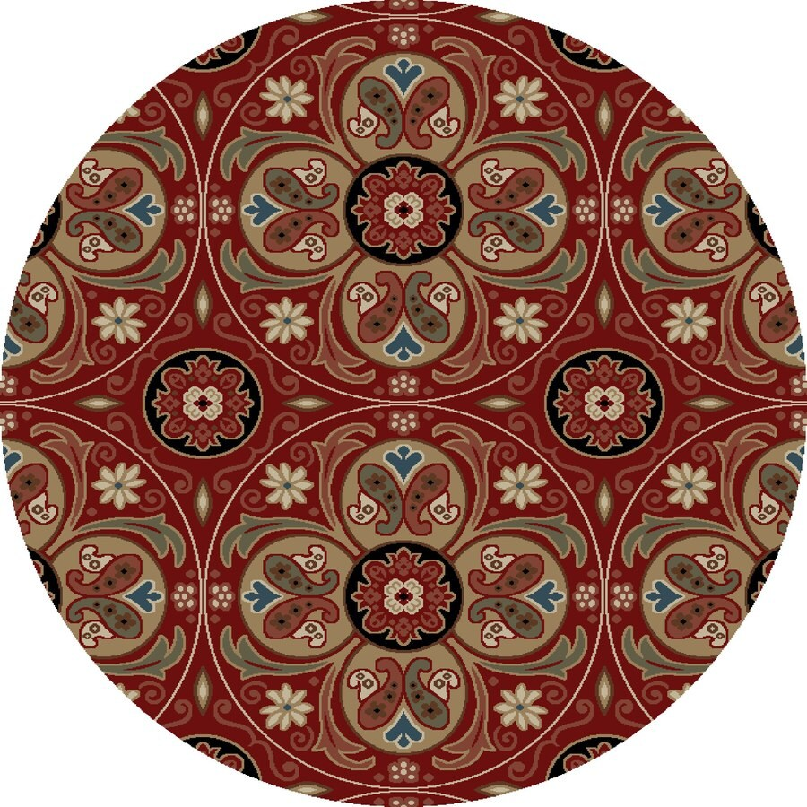 Concord Global Kensington Red Round Indoor Woven Nature Area Rug (Common: 5 x 5; Actual: 63-in W x 63-in L x 5.25-ft Dia)