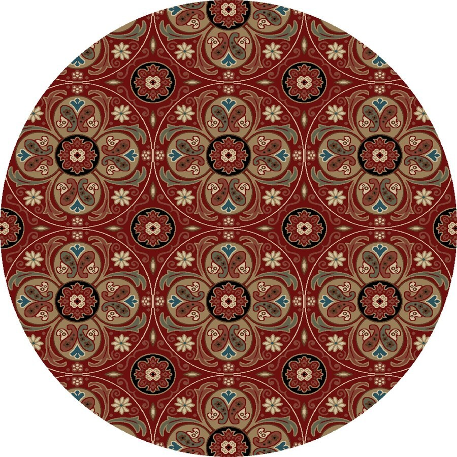 Concord Global Kensington Red Round Indoor Woven Nature Area Rug (Common: 8 x 8; Actual: 94-in W x 94-in L x 7.83-ft Dia)