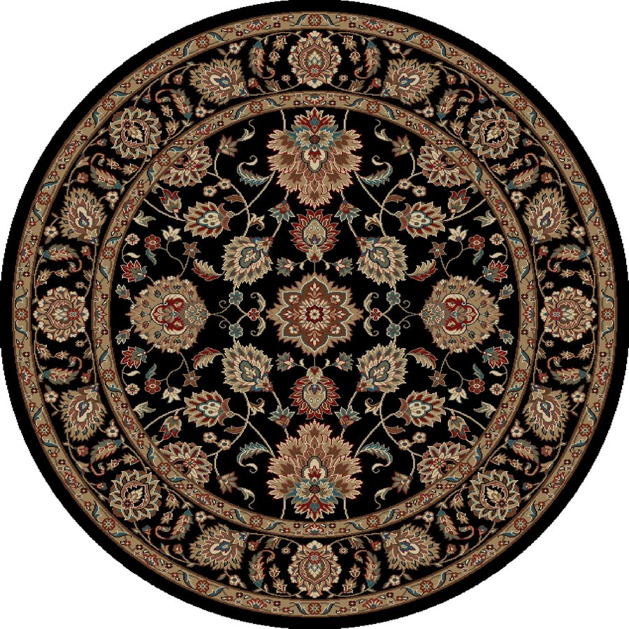 Concord Global Kensington Black Round Indoor Woven Oriental Area Rug (Common: 5 x 5; Actual: 63-in W x 63-in L x 5.25-ft Dia)