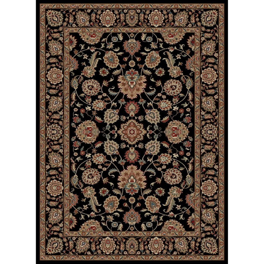 Concord Global Kensington Black Rectangular Indoor Woven Oriental Area Rug (Common: 5 x 7; Actual: 63-in W x 87-in L x 5.25-ft Dia)