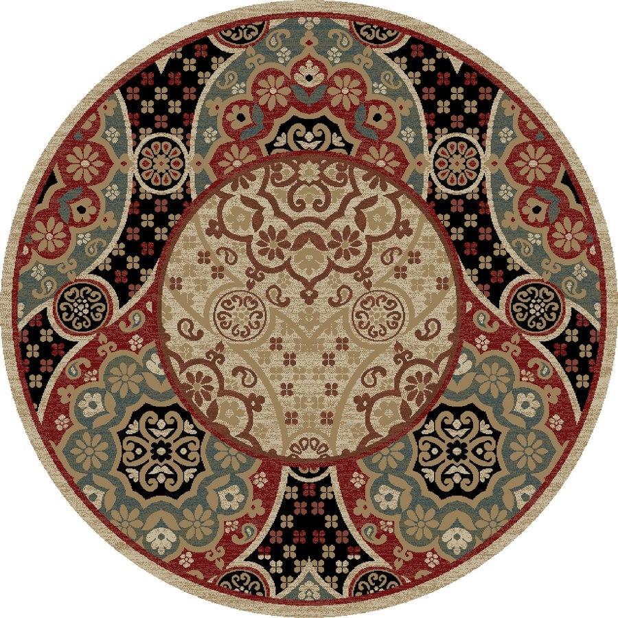Concord Global Kensington Multicolorcolor Round Indoor Woven Oriental Area Rug (Common: 5 x 5; Actual: 63-in W x 63-in L x 5.25-ft Dia)