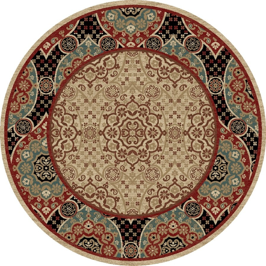 Concord Global Kensington Multicolorcolor Round Indoor Woven Oriental Area Rug (Common: 8 x 8; Actual: 94-in W x 94-in L x 7.83-ft Dia)