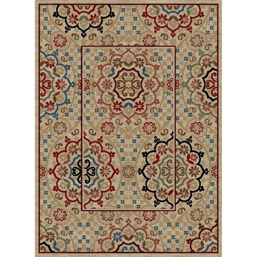 Concord Global Kensington Ivory Rectangular Indoor Woven Oriental Area Rug (Common: 5 x 7; Actual: 63-in W x 87-in L x 5.25-ft Dia)
