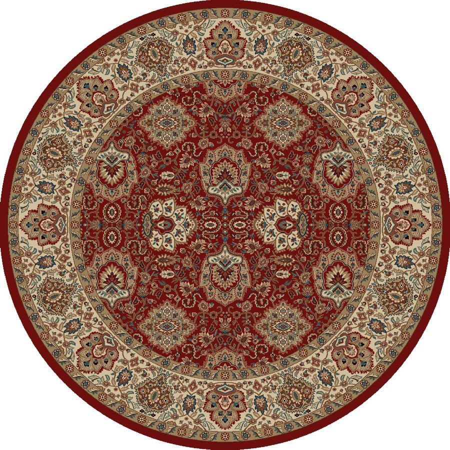 Concord Global Kensington Red Round Indoor Woven Oriental Area Rug (Common: 8 x 8; Actual: 94-in W x 94-in L x 7.83-ft Dia)