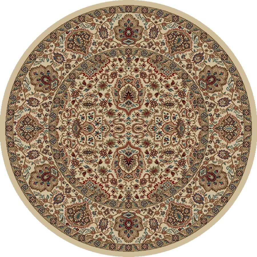 Concord Global Kensington Ivory Round Indoor Woven Oriental Area Rug (Common: 5 x 5; Actual: 63-in W x 63-in L x 5.25-ft Dia)