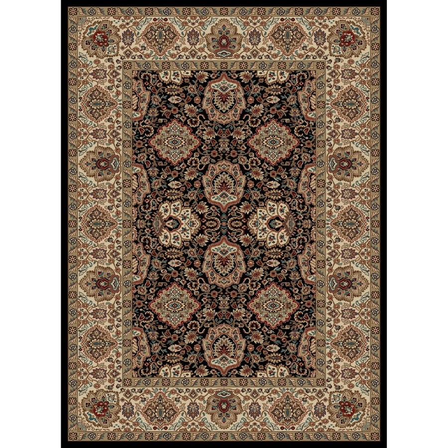 Concord Global Kensington Black Rectangular Indoor Woven Oriental Area Rug (Common: 5 x 7; Actual: 63-in W x 87-in L x 5.25-ft Dia)