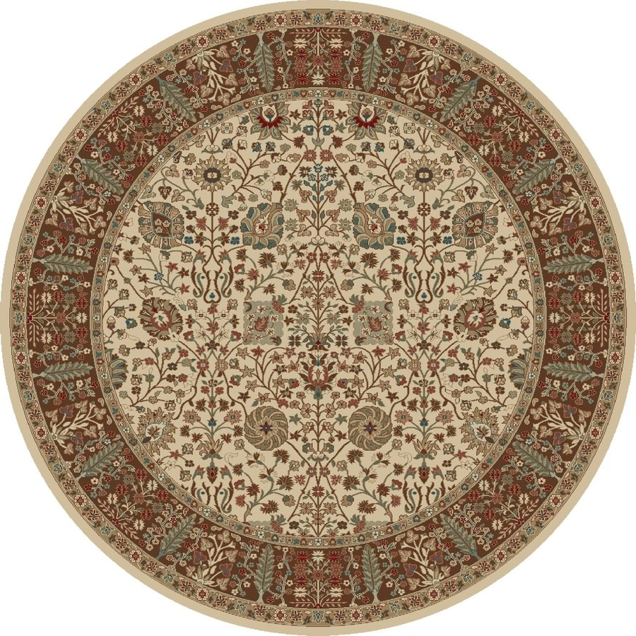 Concord Global Kensington Ivory Round Indoor Woven Oriental Area Rug (Common: 8 x 8; Actual: 94-in W x 94-in L x 7.83-ft Dia)