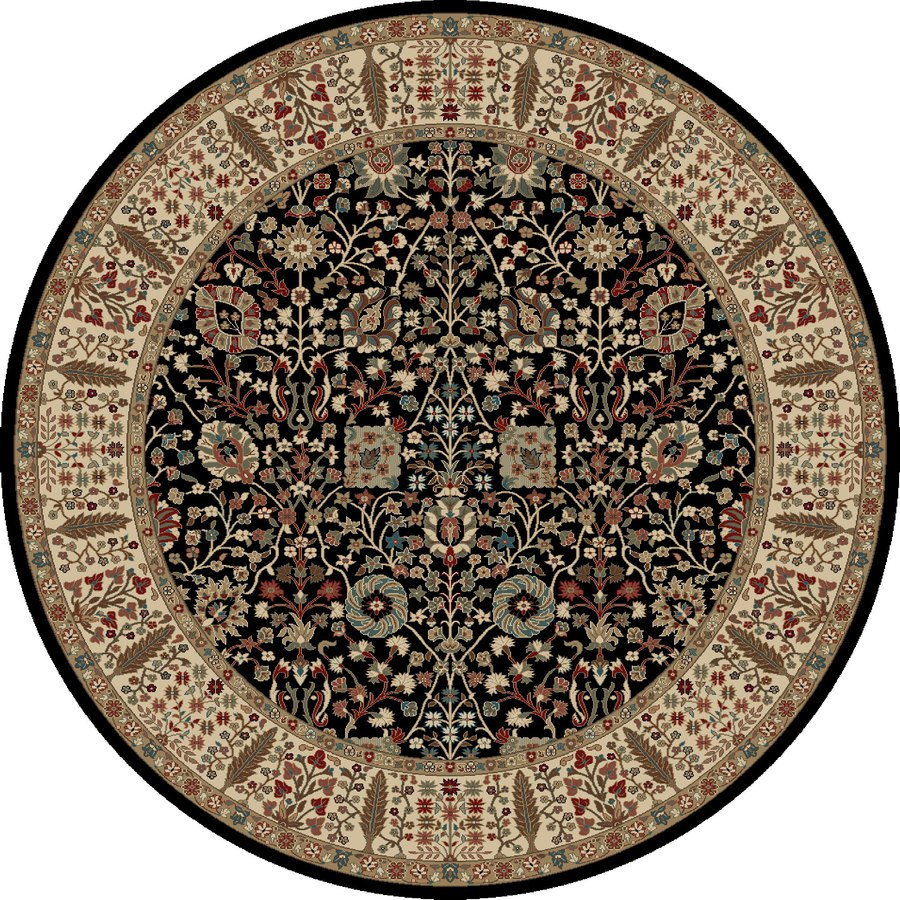 Concord Global Kensington Black Round Indoor Woven Oriental Area Rug (Common: 8 x 8; Actual: 94-in W x 94-in L x 7.83-ft Dia)
