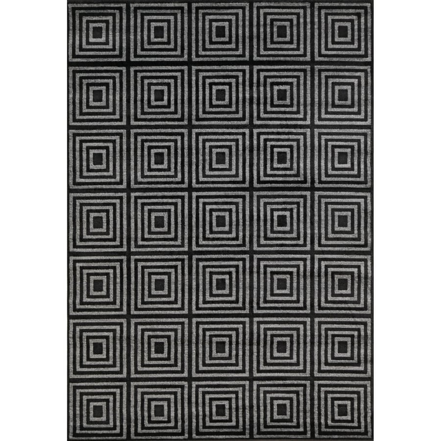 Concord Global Glam Black Rectangular Indoor Woven Area Rug (Common: 3 x 5; Actual: 3.25-ft W x 4.58-ft L x 3.25-ft Dia)
