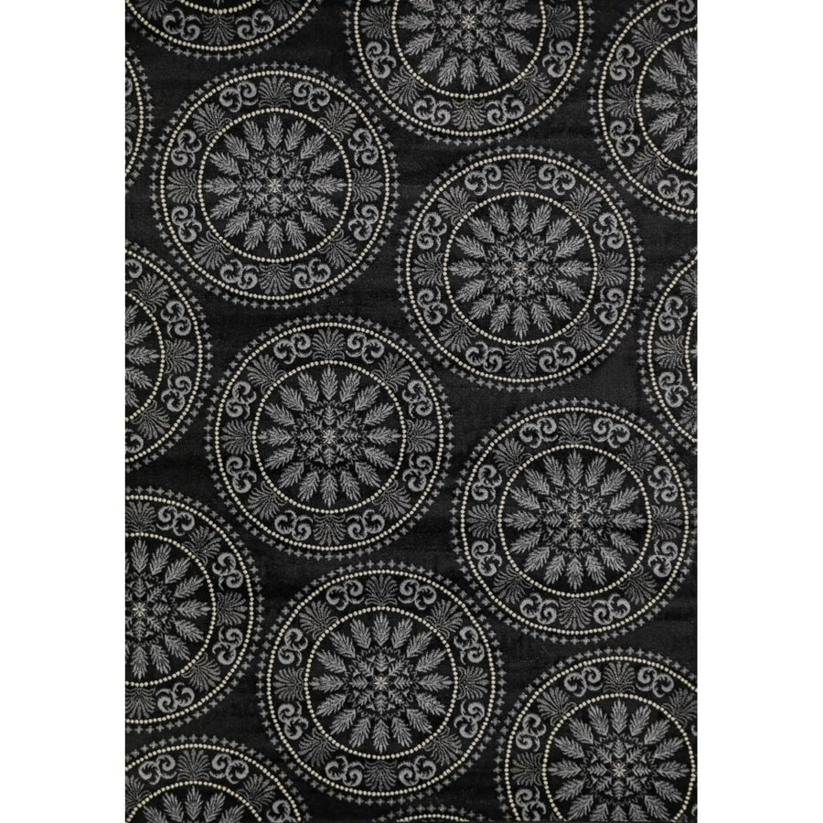 Concord Global Glam Black Rectangular Indoor Woven Area Rug (Common: 7 x 9; Actual: 6.58-ft W x 9.25-ft L x 6.58-ft Dia)