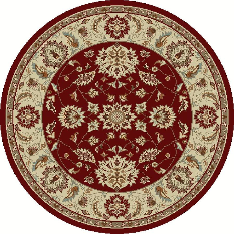 Concord Global Hampton Red Round Indoor Woven Oriental Area Rug (Common: 8 x 8; Actual: 7.83-ft W x 7.83-ft L x 7.83-ft Dia)