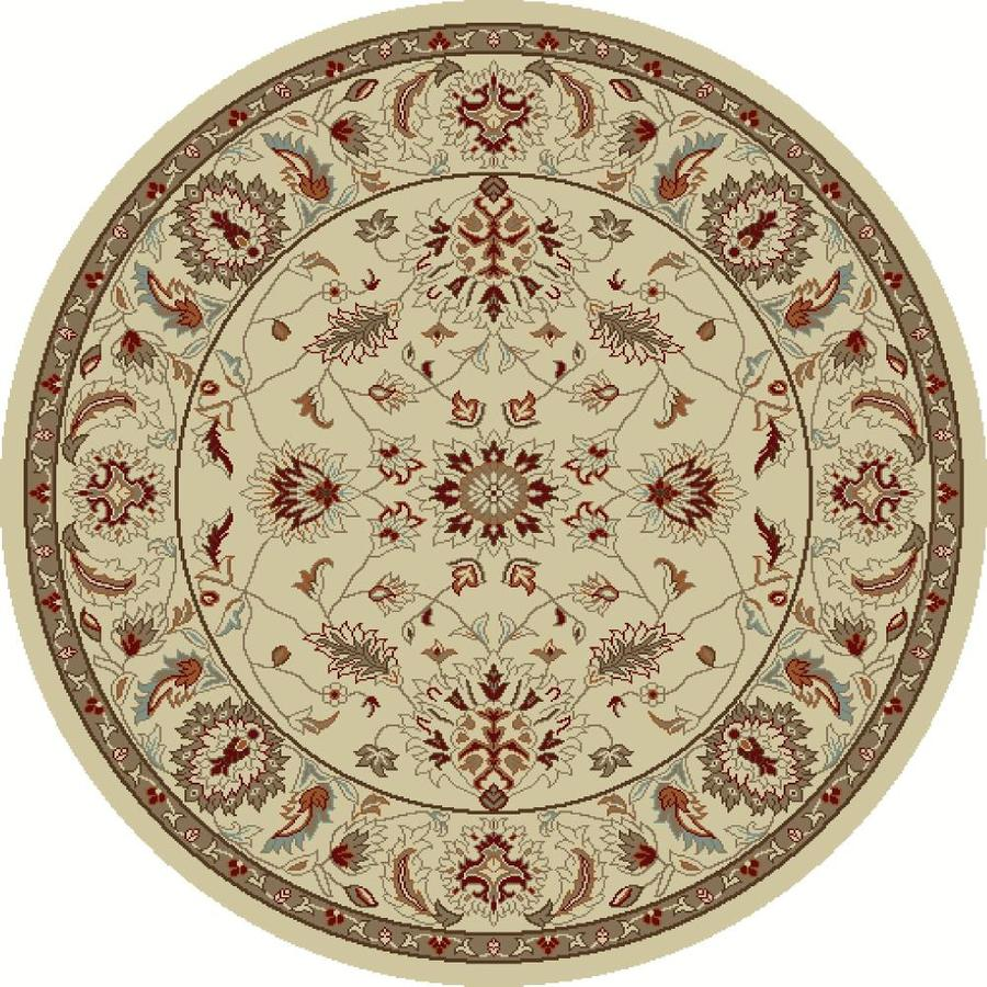 Concord Global Hampton Ivory Round Indoor Woven Oriental Area Rug (Common: 5 x 5; Actual: 5.25-ft W x 5.25-ft L x 5.25-ft Dia)
