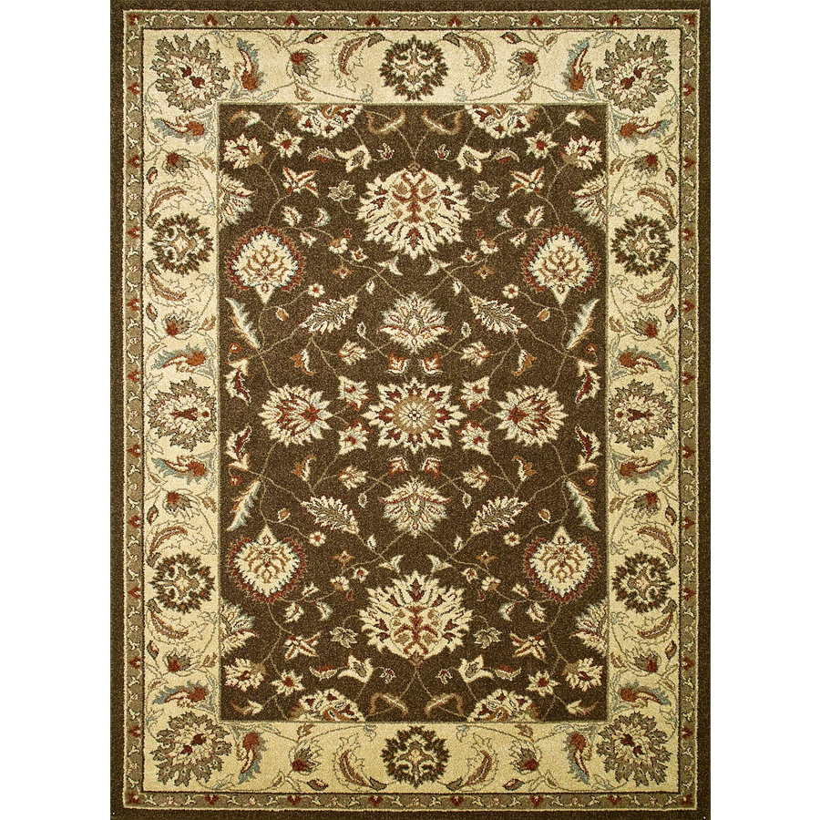 Concord Global Hampton Brown Rectangular Indoor Woven Oriental Area Rug (Common: 7 x 10; Actual: 6.58-ft W x 9.5-ft L x 6.58-ft Dia)