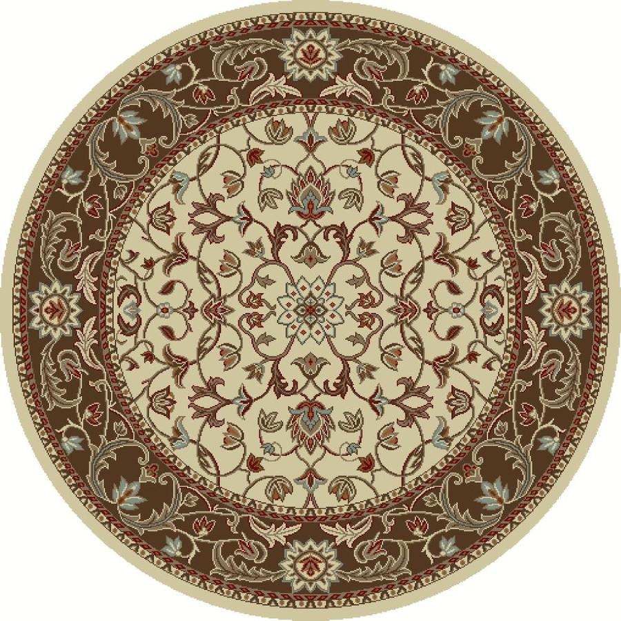 Concord Global Hampton Ivory Round Indoor Oriental Area Rug (Common: 8 x 8; Actual: 7.83-ft W x 7.83-ft L x 7.83-ft dia)