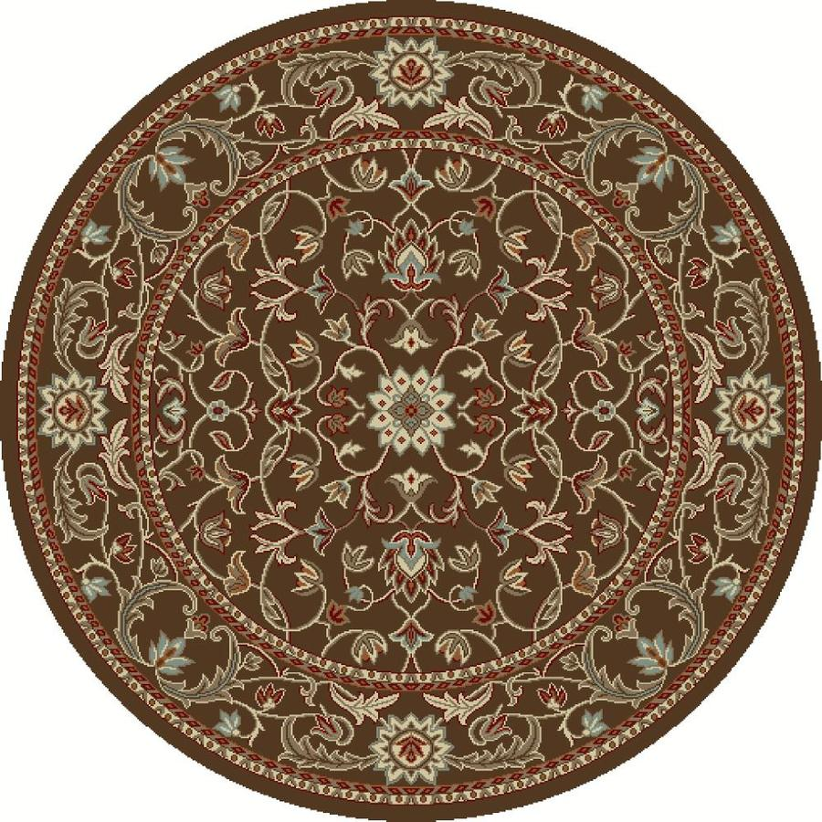 Concord Global Hampton Brown Round Indoor Woven Oriental Area Rug (Common: 5 x 5; Actual: 63-in W x 63-in L x 5.25-ft Dia)