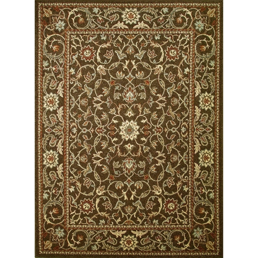 Concord Global Hampton Brown Rectangular Indoor Woven Oriental Area Rug (Common: 3 x 5; Actual: 3.25-ft W x 4.58-ft L x 3.25-ft Dia)