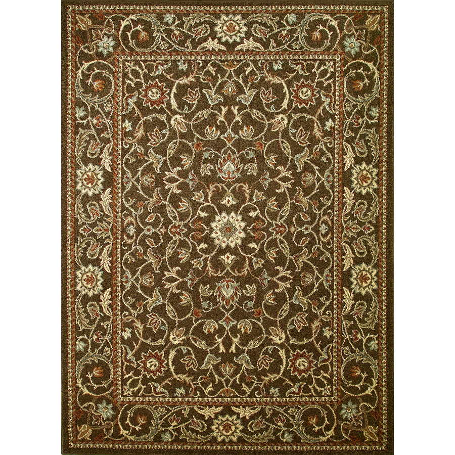 Concord Global Hampton Brown Rectangular Indoor Woven Oriental Area Rug (Common: 5 x 7; Actual: 5.25-ft W x 7.25-ft L x 5.25-ft Dia)