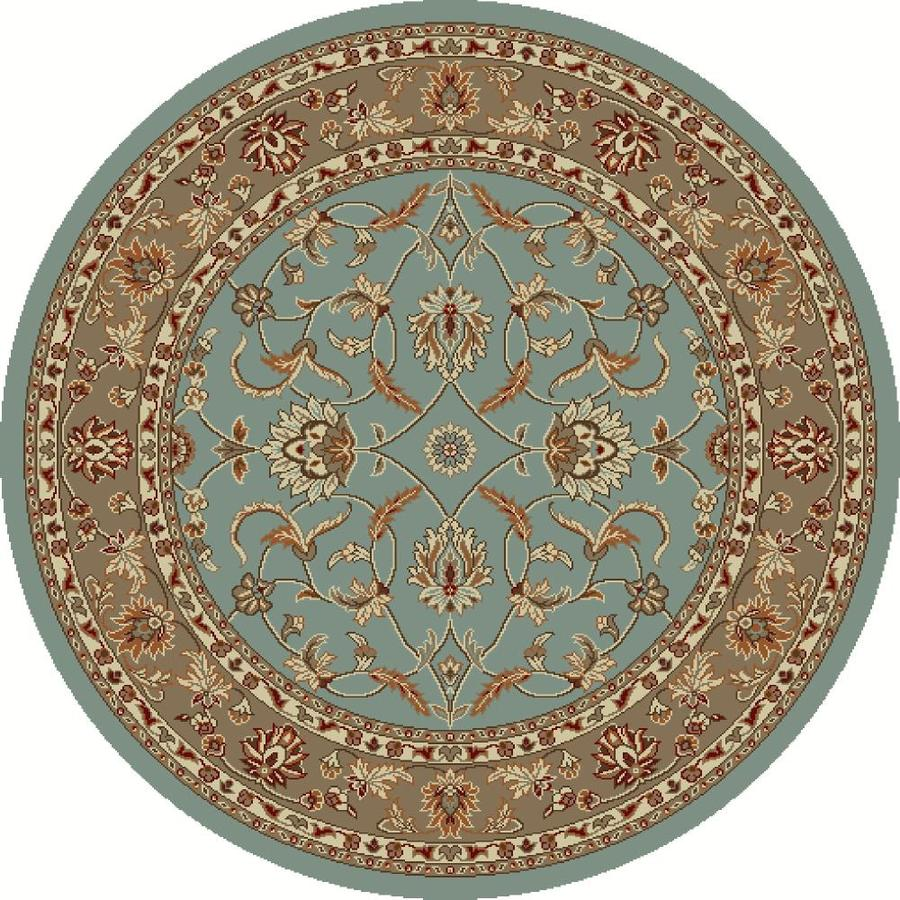 Concord Global Hampton Blue Round Indoor Woven Oriental Area Rug (Common: 8 x 8; Actual: 7.83-ft W x 7.83-ft L x 7.83-ft Dia)