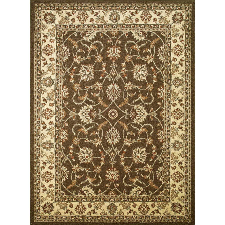 Concord Global Hampton Brown Rectangular Indoor Woven Oriental Area Rug (Common: 8 x 11; Actual: 7.83-ft W x 10.5-ft L x 7.83-ft Dia)