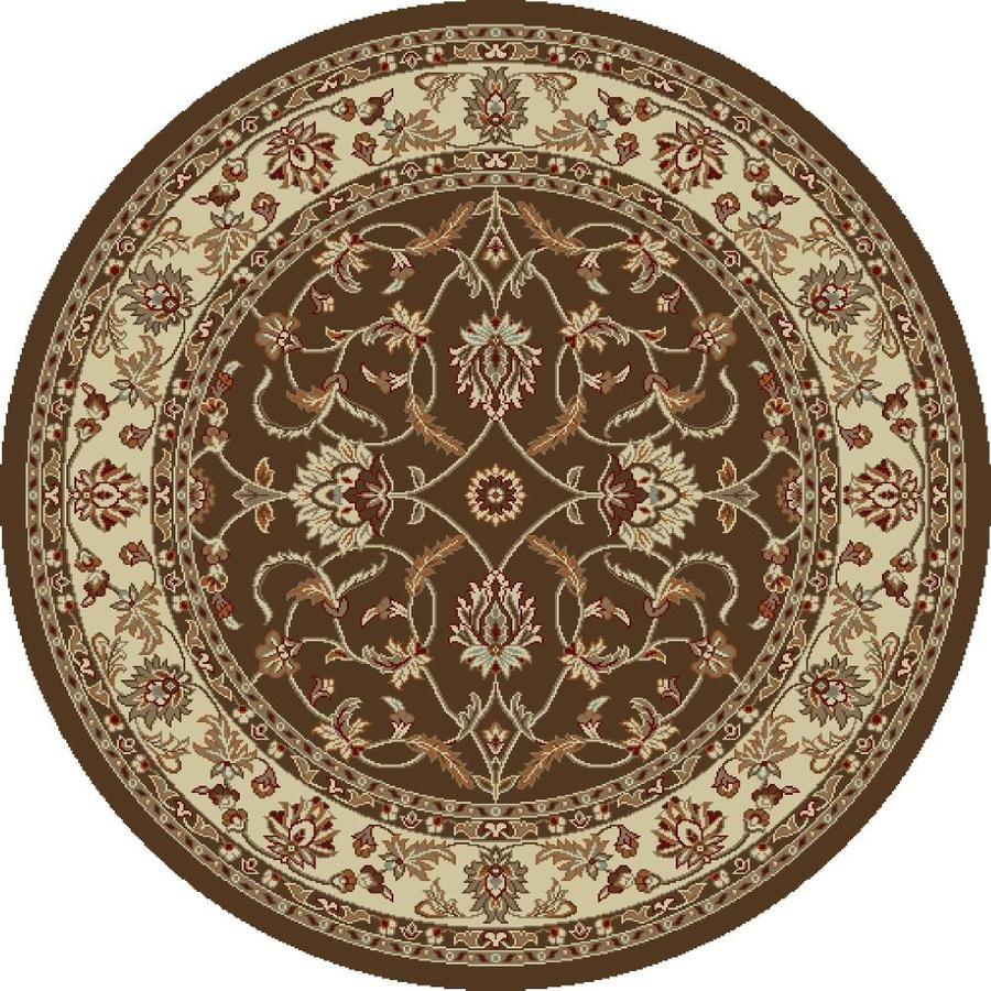 Concord Global Hampton Brown Round Indoor Woven Oriental Area Rug (Common: 8 x 8; Actual: 7.83-ft W x 7.83-ft L x 7.83-ft Dia)