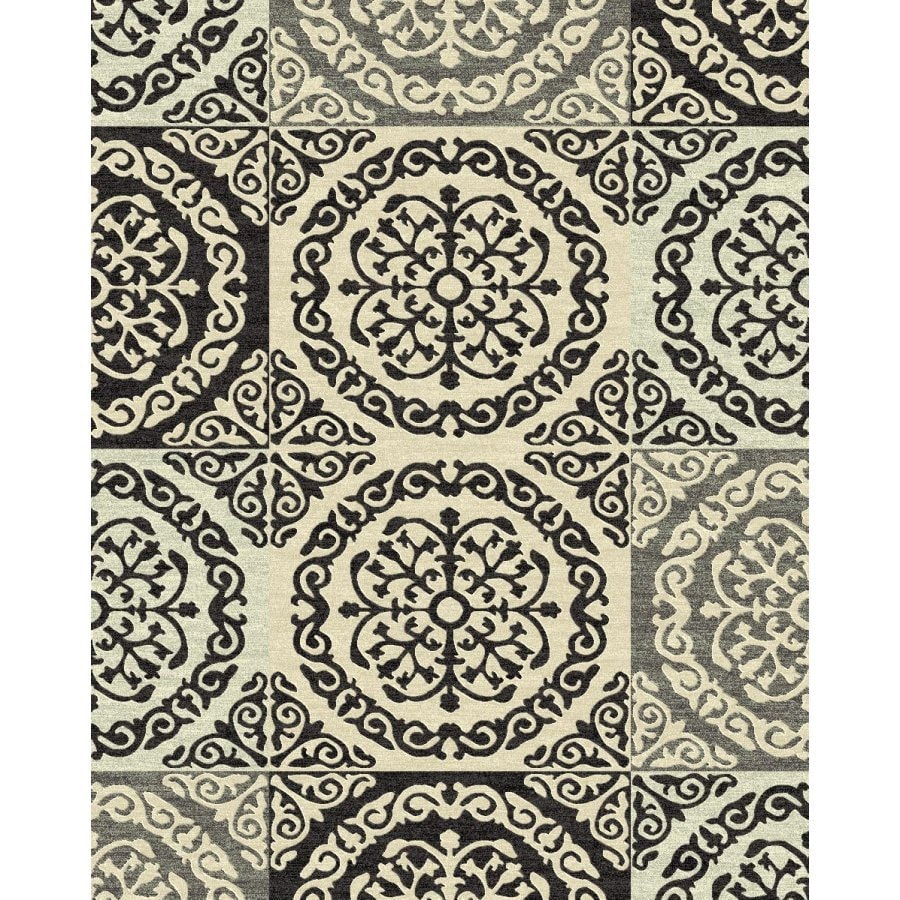 Style Selections Gabany Black Rectangular Indoor Woven Area Rug (Common: 8 x 10; Actual: 7.83-ft W x 9.83-ft L x 7.83-ft Dia)