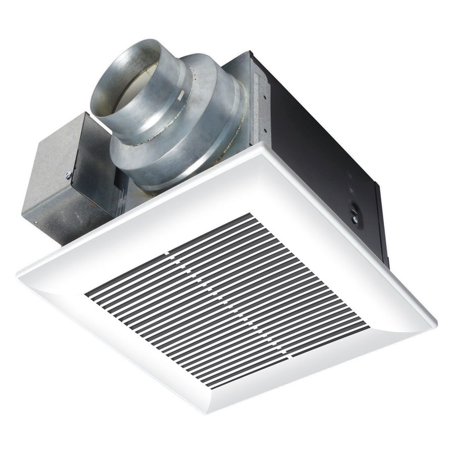 Shop panasonic 0 3 sone 80 cfm white bathroom fan energy for 2 bathroom exhaust fan venting