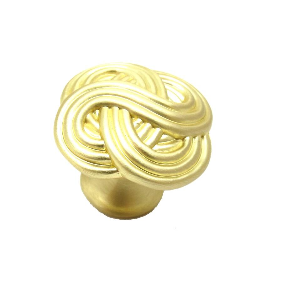 allen + roth 1.37-in Satin Brass Round Cabinet Knob