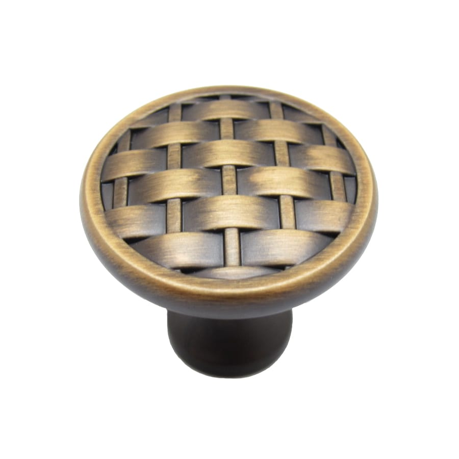 allen + roth 1.25-in Aged Brass Round Cabinet Knob