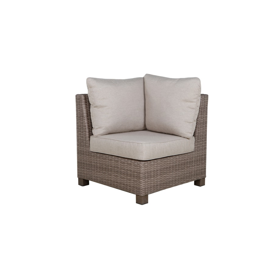 allen + roth Sea Palms Warm Gray Wicker Corner Patio Conversation Chair with Taupe Cushions