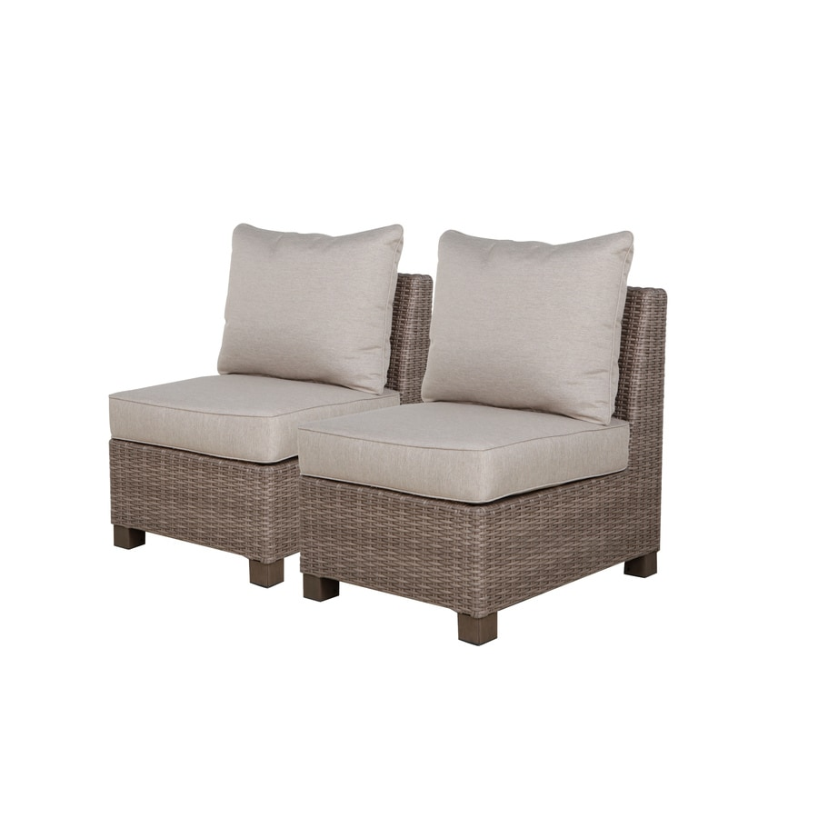 Allen + Roth Sea Palms 2 Count Warm Gray Wicker Patio Conversation Chairs  With Taupe