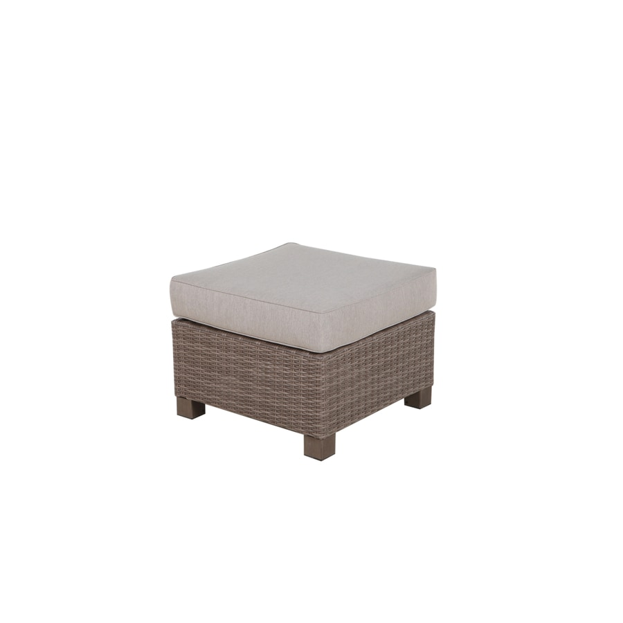 allen roth sea palms warm gray wicker ottoman with a taupe cushion