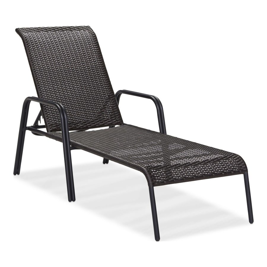 Shop garden treasures pelham bay wicker stackable patio for Patio furniture chaise lounge