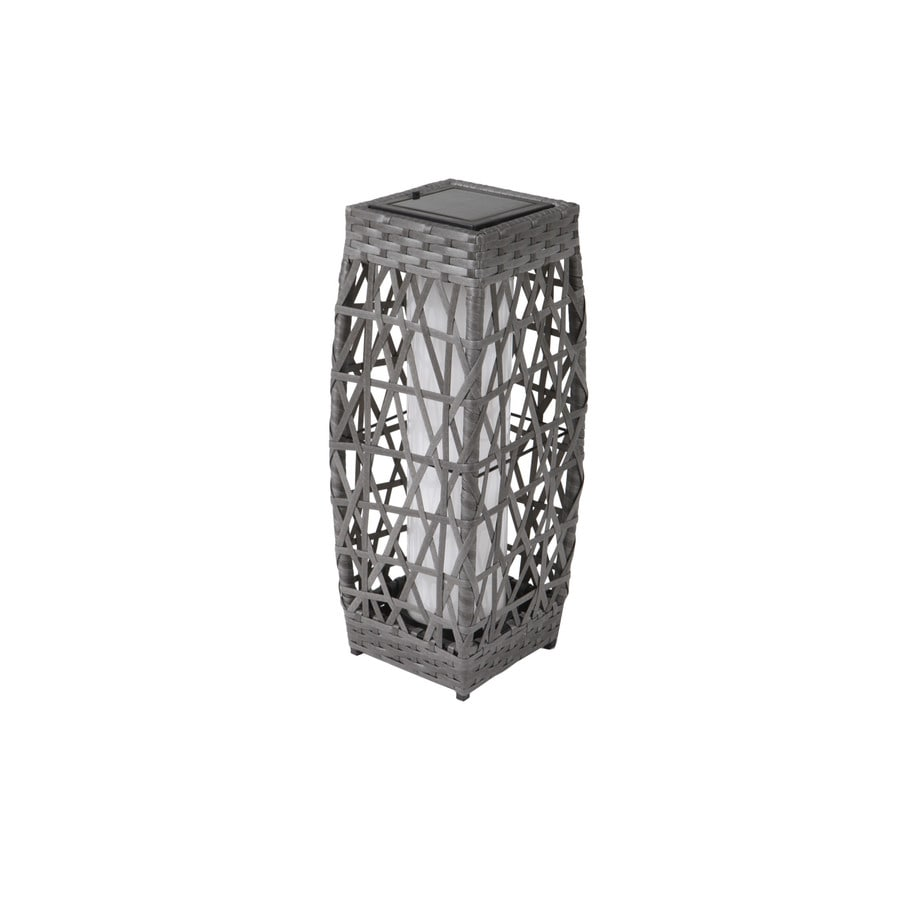 allen + roth 6.7-in x 18.1-in Grey/Black Metal Solar Outdoor Decorative Lantern