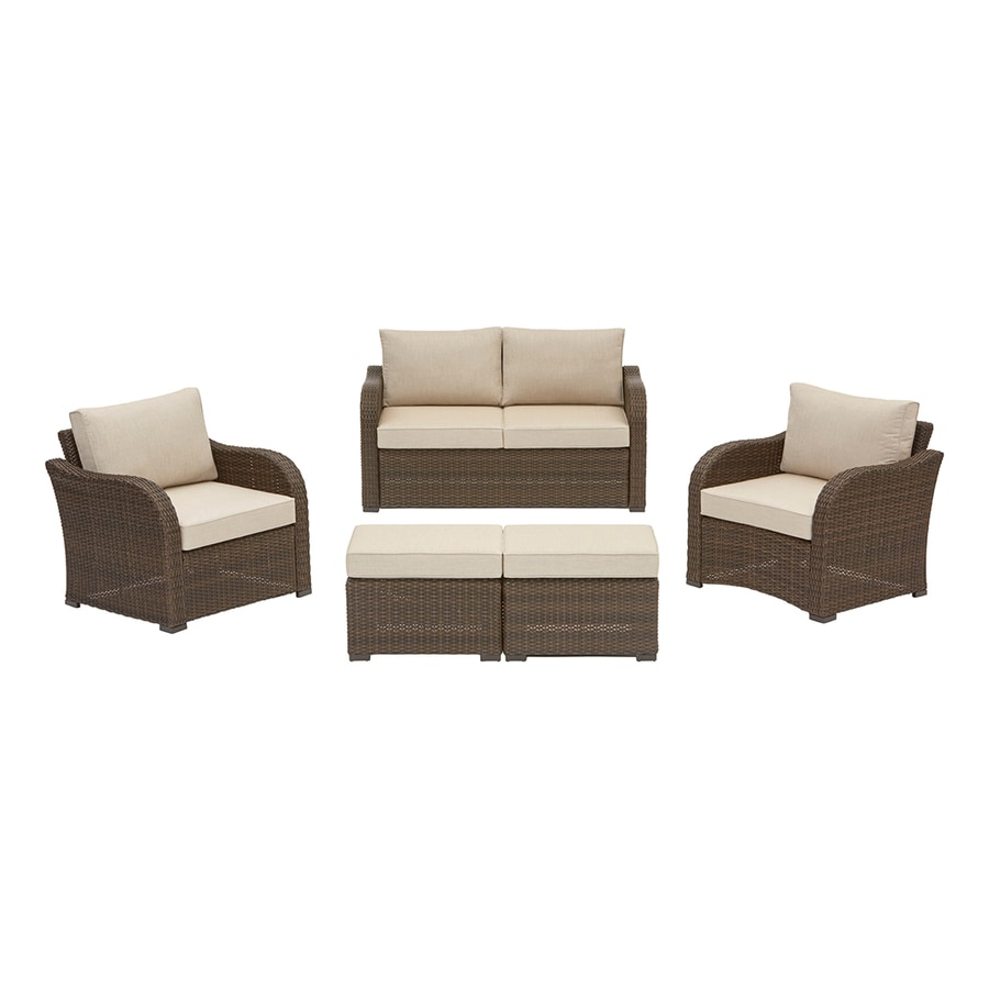 Allen roth northborough 5 piece aluminum frame patio conversation set with cast ash sunbrella
