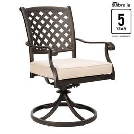 d42d84777cf4 allen + roth Queensbury Set of 2 Aluminum Swivel Rocking Chairs with  Spectrum Sand Sunbrella Slat