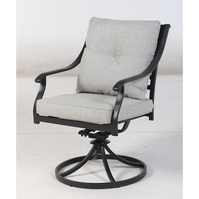 Remarkable Elliot Creek Set Of 2 Metal Swivel Rocking Chair S With Gray Olefin Cushioned Seat Beatyapartments Chair Design Images Beatyapartmentscom