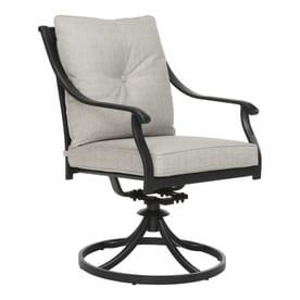 Garden Treasures Elliot Creek Set Of 2 Steel Swivel Rockerdining Chairs With Gray Cushions