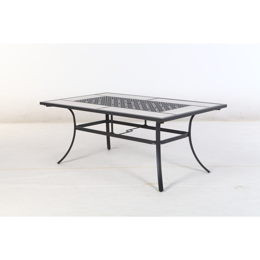 Style Selections Elliot Creek Rectangle Dining Table  In W X   In L With Umbrella Hole