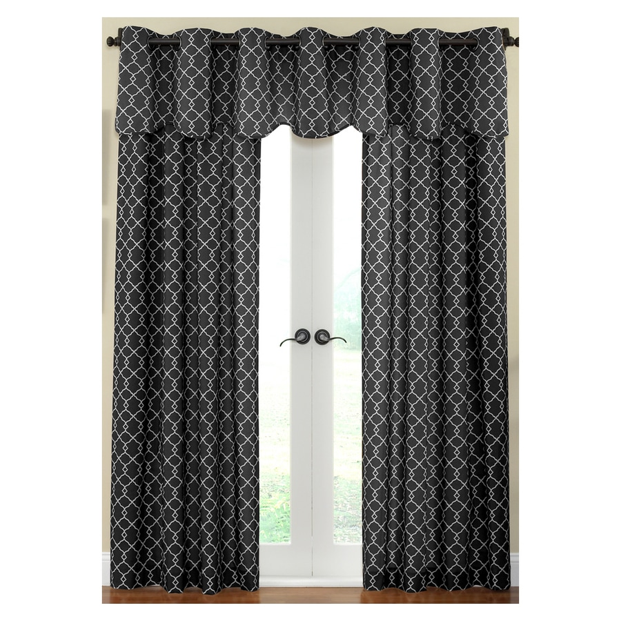Waverly Chippendale 84-in L Geometric Onyx Rod Pocket Curtain Panel