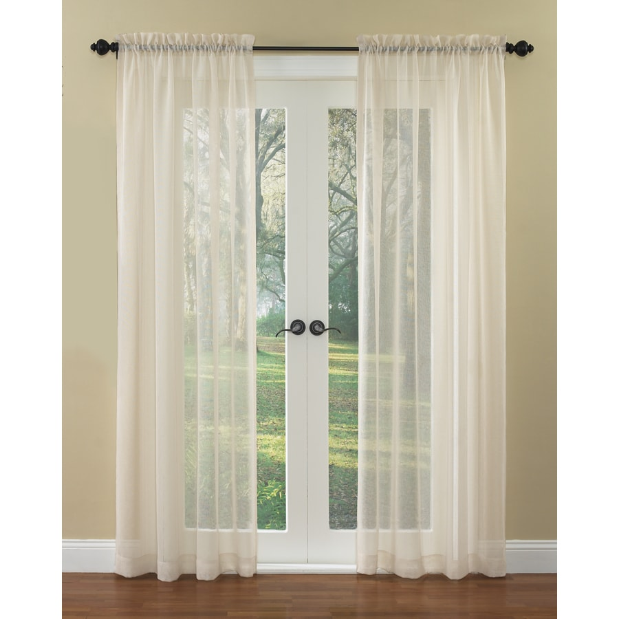 waverly breeze 84in ivory polyester rod pocket sheer single curtain panel