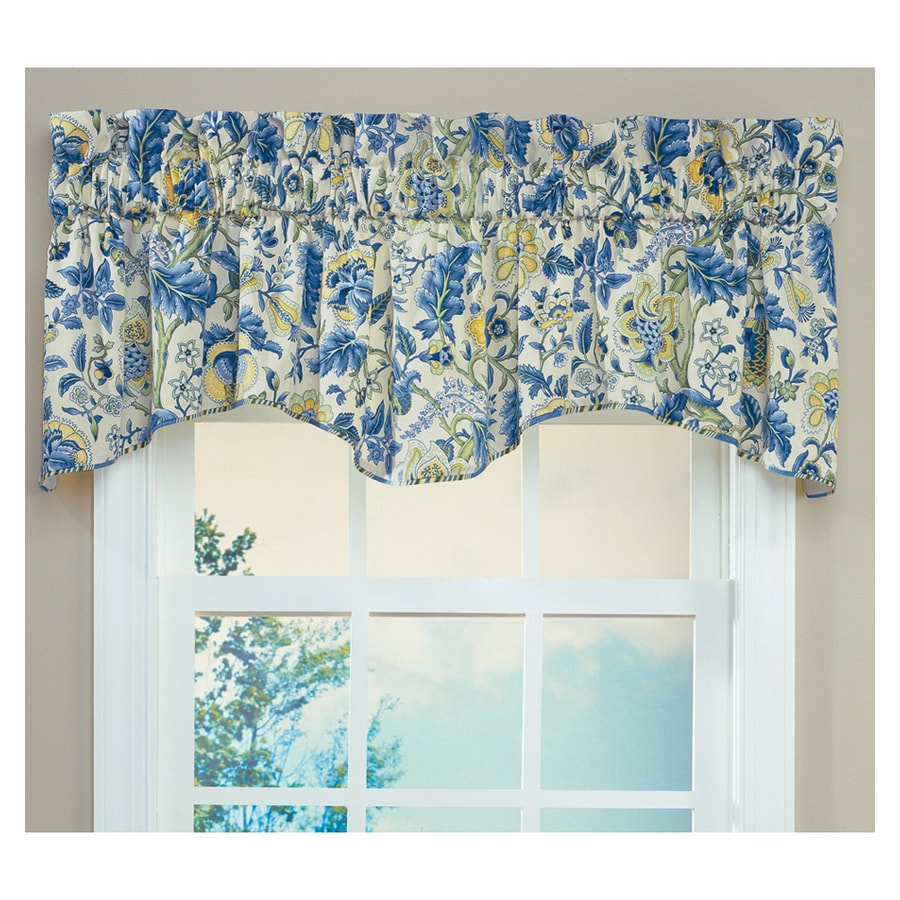 Blue Green Kitchen Curtains: Waverly Home Classics 18-in Porcelain Cotton Rod Pocket