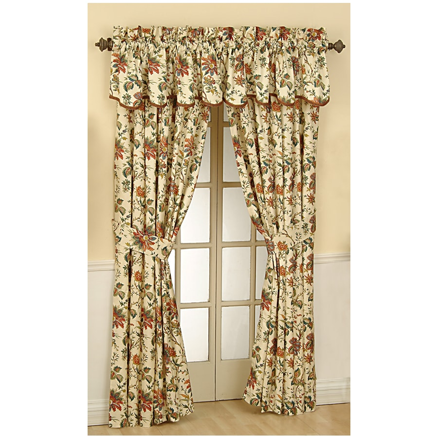 Waverly Felicite 84 In Creme Cotton Rod Pocket Single Curtain Panel