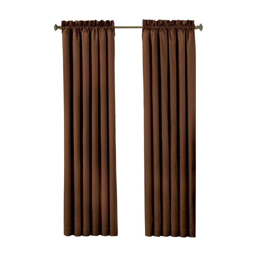 eclipse Canova 63-in Chocolate Polyester Rod Pocket Blackout Single Curtain Panel