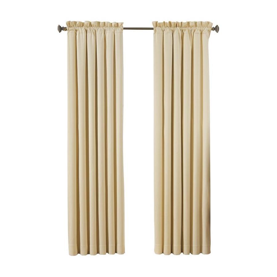 Shop Eclipse Canova 84 In Ivory Polyester Rod Pocket Blackout Single Curtain Panel At