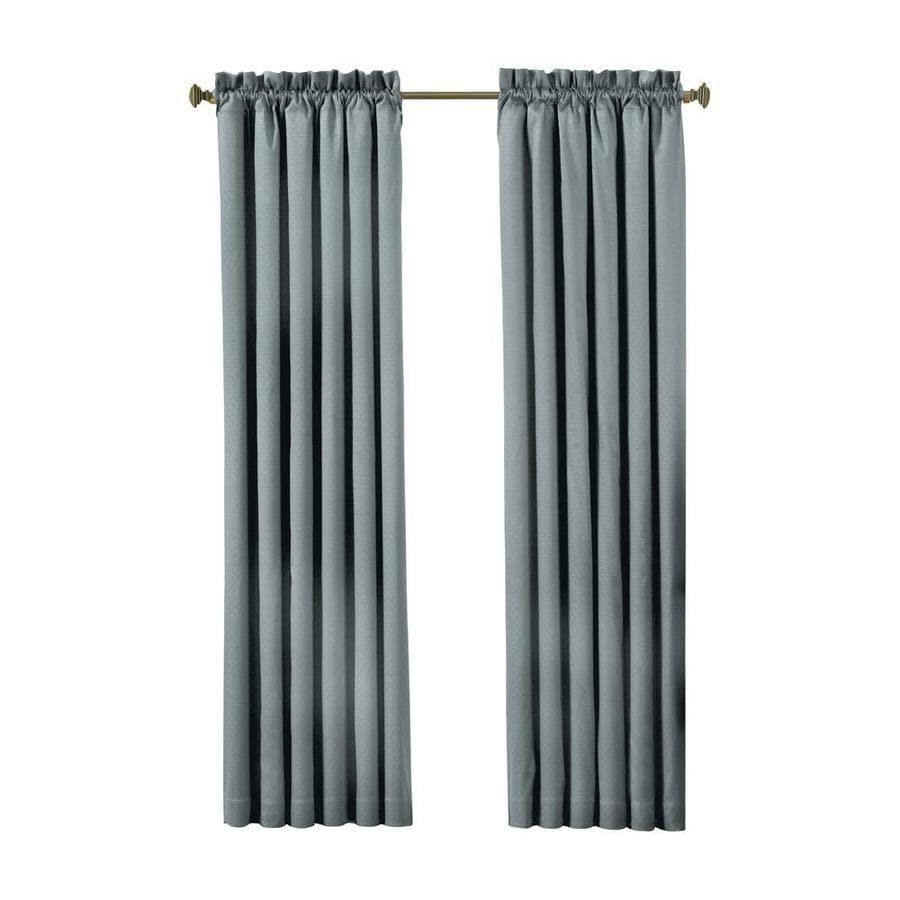 eclipse Canova 84-in River Blue Polyester Rod Pocket Blackout Single Curtain Panel